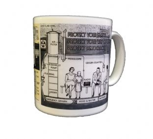 Nuclear Fallout Shelter Schematics Plans Design Coffee Mug
